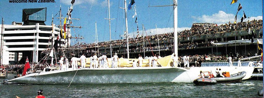 Launch and sailing of the 1988 America's Cup Challenger, David Barnes was the helmsman of KZ-1 © SW