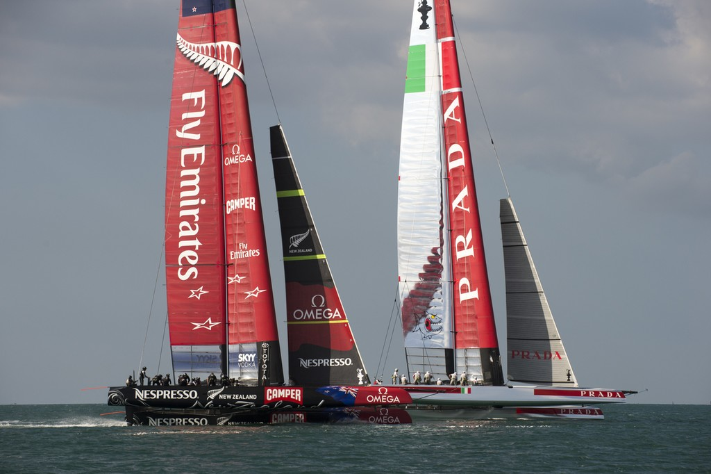 Emirates Team New Zealand and Luna Rossa start a practice race on the Hauraki Gulf.   © Chris Cameron/ETNZ http://www.chriscameron.co.nz