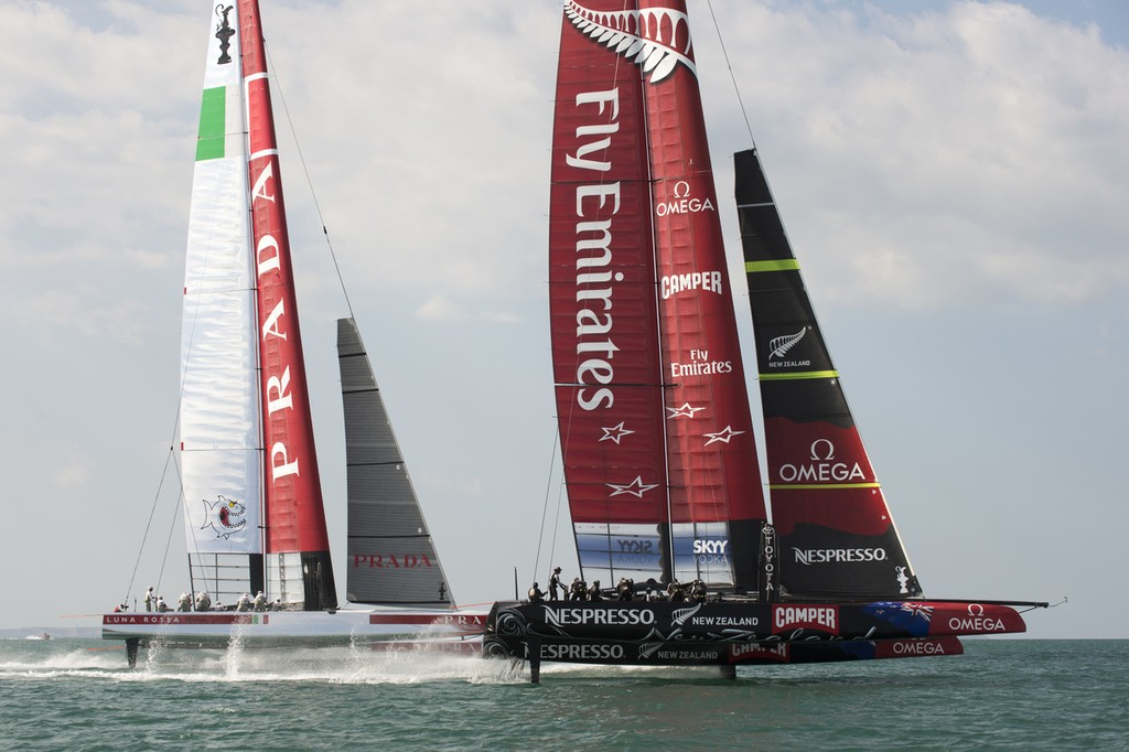 Emirates Team New Zealand and Luna Rossa on the first reaching leg of a practice race on the Hauraki Gulf.  © Chris Cameron/ETNZ http://www.chriscameron.co.nz