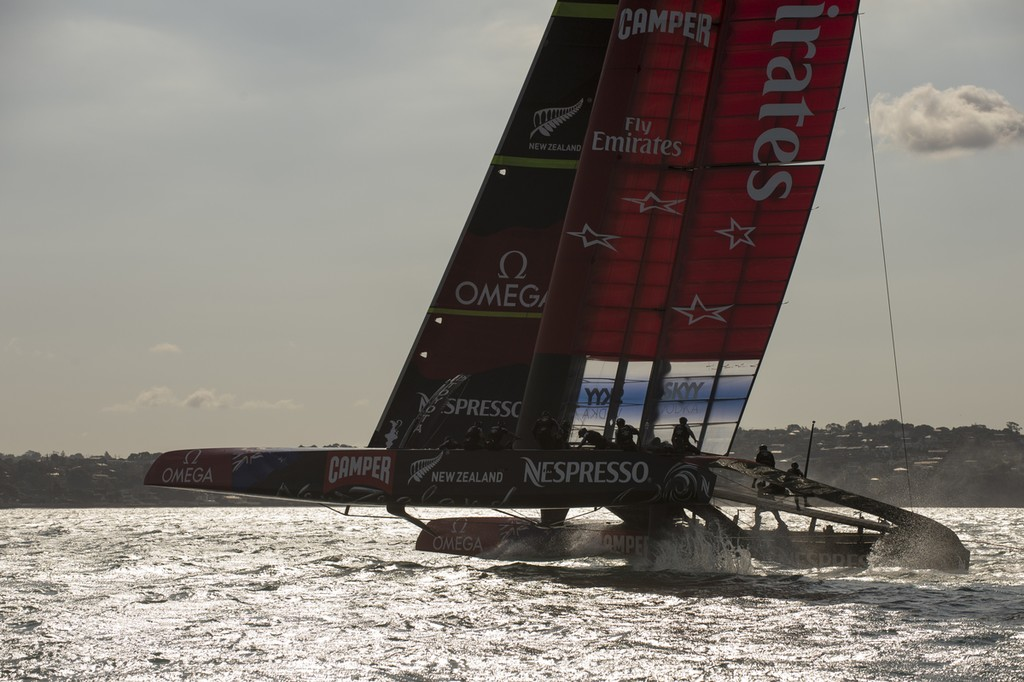 Emirates Team New Zealand in a practice race   on the Hauraki Gulf.  © Chris Cameron/ETNZ http://www.chriscameron.co.nz