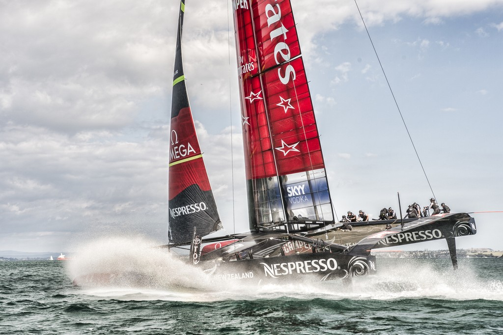 Emirates Team New Zealand bears away at the first mark in a practice race with Luna Rossa  on the Hauraki Gulf.   © Chris Cameron/ETNZ http://www.chriscameron.co.nz