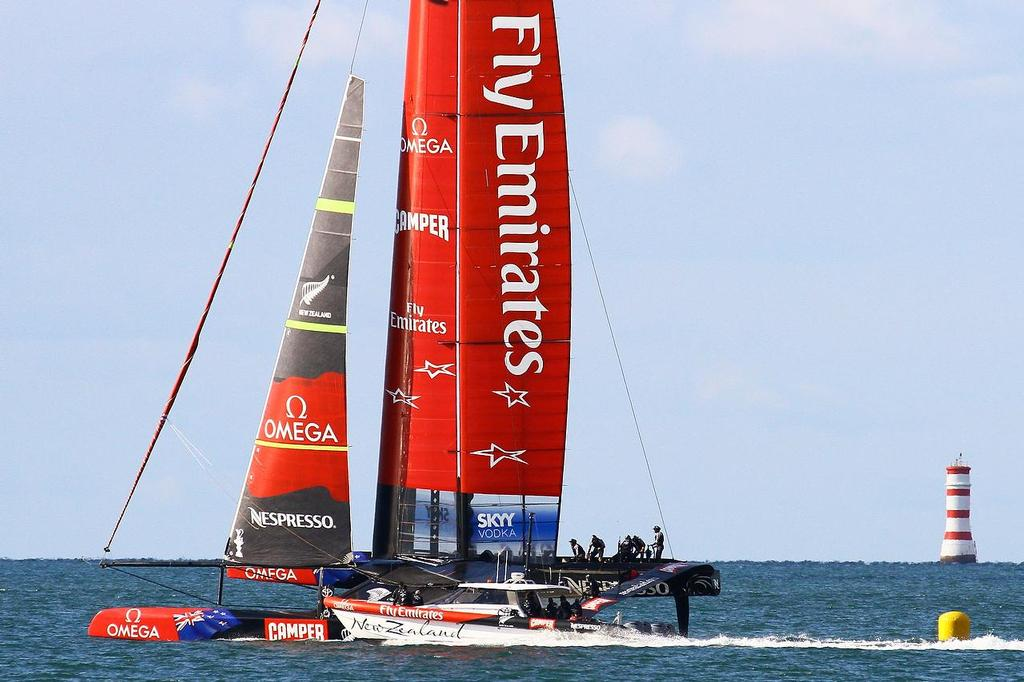 Chase boat in position - Emirates Team NZ - March 2013 © Richard Gladwell www.photosport.co.nz