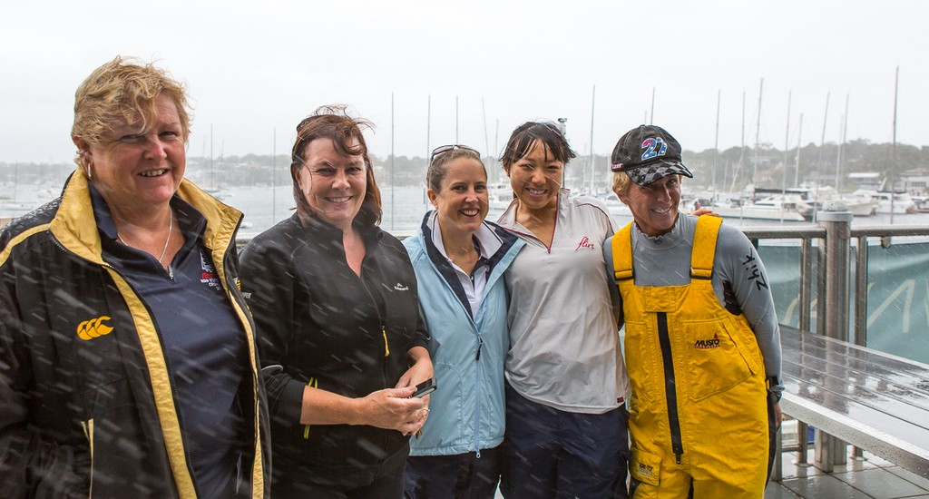Lining up in the driving rain are Vicky Weeks, Christine Short, Kate Beasley, Antonia Fong and Jeanne-Claude Strong. - 2013 Etchells NSW Championship © Kylie Wilson Positive Image