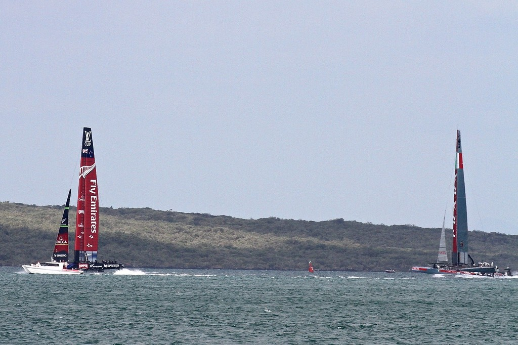Emirates Team NZ has a big margin in terms of distance, but maybe not in time- AC72 Race Practice - Takapuna March 8, 2013 © Richard Gladwell www.photosport.co.nz