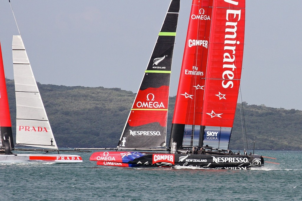 Luna Rossa and Emirates Team NZ just before the prestart - AC72 Race Practice - Takapuna March 8, 2013 © Richard Gladwell www.photosport.co.nz