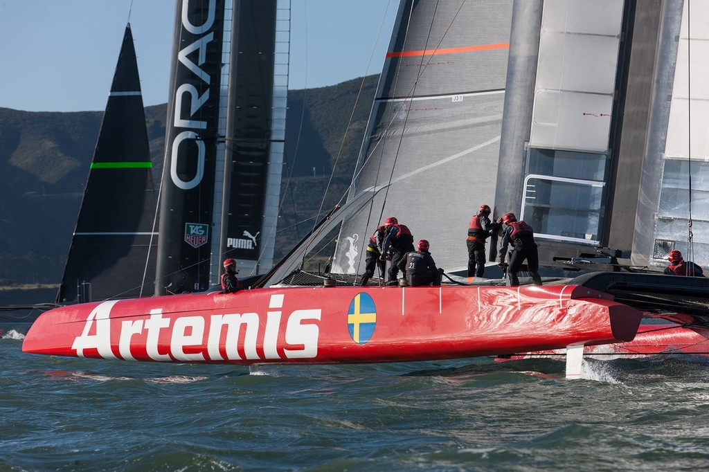 Artemis Racing and Oracle Team USAAC72 training in San Francisco Bay  in early February © Artemis Racing http://www.artemisracing.com