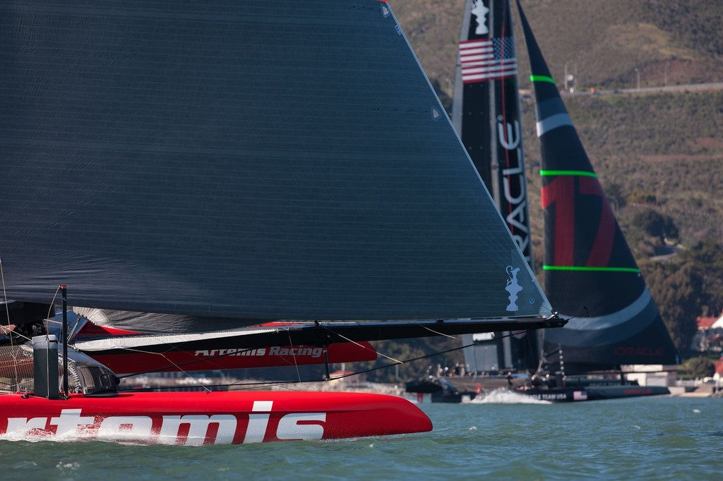 Artemis Racing and Oracle Team USA AC72 training in San Francisco Bay  in early February © Artemis Racing http://www.artemisracing.com