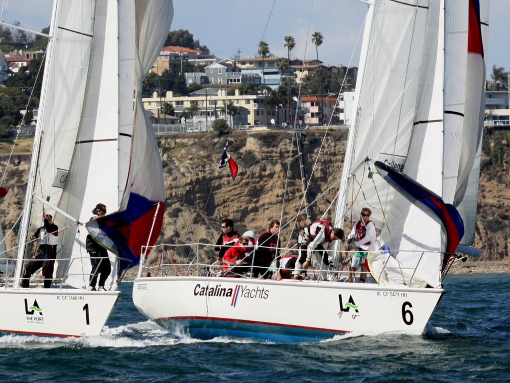 2013 Port of Los Angeles Harbor Cup - Charleston leads Cal Maritime off the windward mark © Rich Roberts / photo boat captain Mike Learned .
