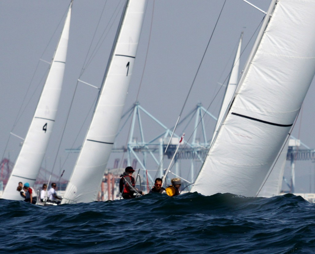 2013 Port of Los Angeles Harbor Cup - the swells make handing the Catalina 37´s interesting at times © Rich Roberts / photo boat captain Mike Learned .