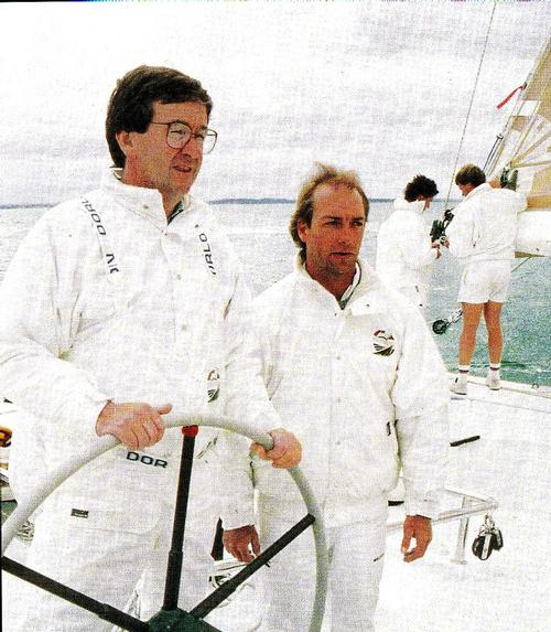 Sir Michael Fay and David Barnes (right) aboard KZ-1, the 1988 America's Cup Challenger  © SW