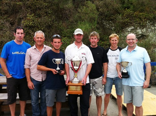 Victorious Team Shibeen: L-R, Matt Sherwood, Graham Parratt, Ryan Thomson, Daniel Folter, Milton Bloomfield, Iain Begg, Richard Lascelles - Knight Frank Young 88 South Island Champs © Craig Edwards