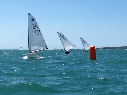 Lester leads Race 1 from Paulich and Coleman - 2012 Wakatere OK Dinghy Invitational ©  Alistair Deaves