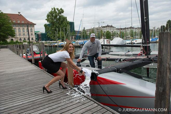 Marwin Sailing Team GC32 christening with former Miss Switzerland Jenny Ann Gerber © Juerg Kaufmann go4image.com http://www.go4image.com