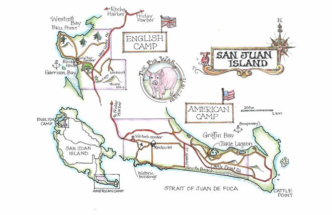 One of the beautiful maps in the book - this one of San Juan Island © Amanda Spottiswoode