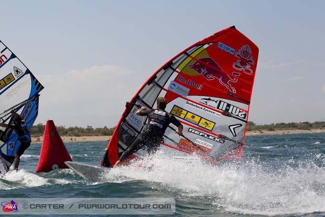 Bjorn Dunkerbeck at the mark - 2013 PWA Catalunya World Cup ©  John Carter / PWA http://www.pwaworldtour.com