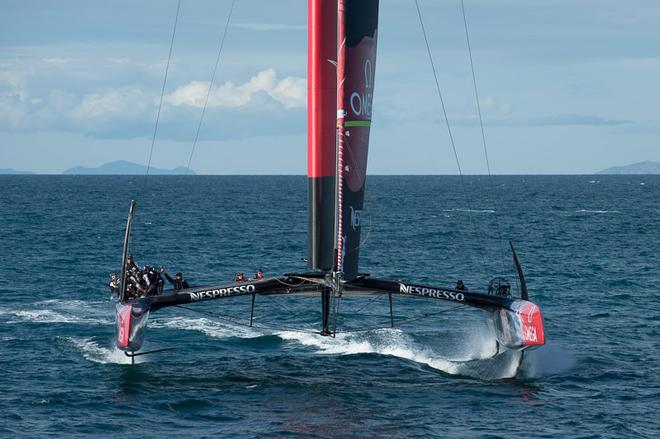 Emirates Team New Zealand sail NZL5 for the last time in New Zealand before being shipped to San Francisco. 3/4/2013 © Chris Cameron/ETNZ http://www.chriscameron.co.nz