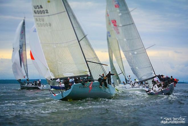A group of five Farr 40-footers rounds the top mark in close proximity during the first day of racing at the New York Yacht Club Annual Regatta. - Farr 40 Class at New York Yacht Club Annual Regatta © Sara Proctor http://www.sailfastphotography.com