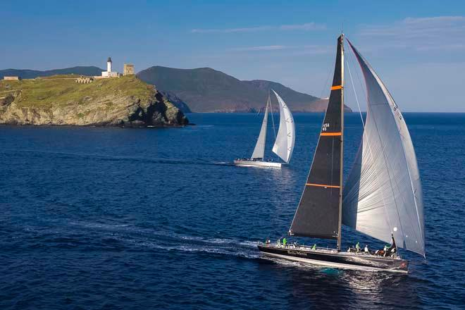 CAOL ILA R, Sail n: USA60669, Owner: ALEXANDER SCHAERER , Group 0  (IRC Classes 0-1-2)<br /> BELLA MENTE, Sail n: USA45, Owner: HAP FAUTH, Group 0 (IRC >18.29 mt)<br /> rounding the Giraglia Rock &copy;  Rolex / Carlo Borlenghi http://www.carloborlenghi.net