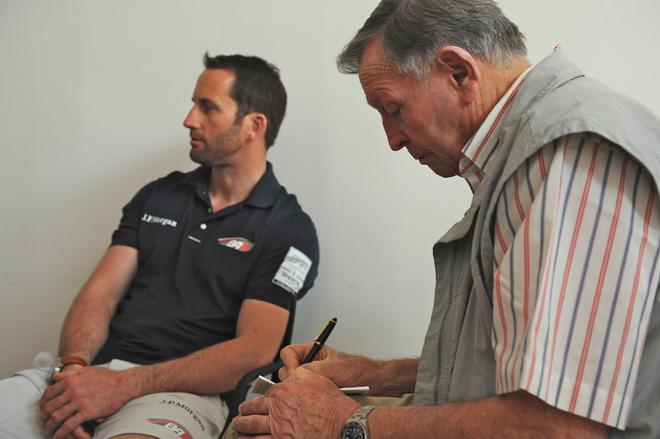 Bob Fisher tries to interview Ben Ainslie, over the din from the photographers - America's Cup WS, Naples Media Conference April 16, 2013 ©  SW