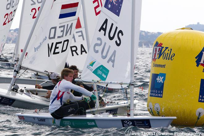 Matthew Wearn in the Laser fleet in Hyeres - ISAF Sailing World Cup Hyeres 2013 © Thom Touw http://www.thomtouw.com