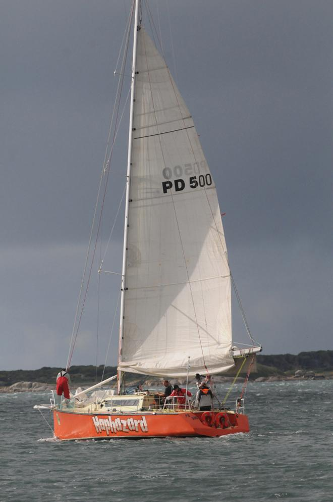 Haphazard heads out from Lady Barron for the long sailing leg to Coles Bay - 2013 Three Peaks Race © Paul Scrambler