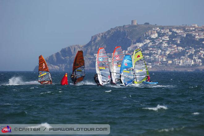 Race two quarter final action - 2013 PWA Catalunya World Cup ©  John Carter / PWA http://www.pwaworldtour.com