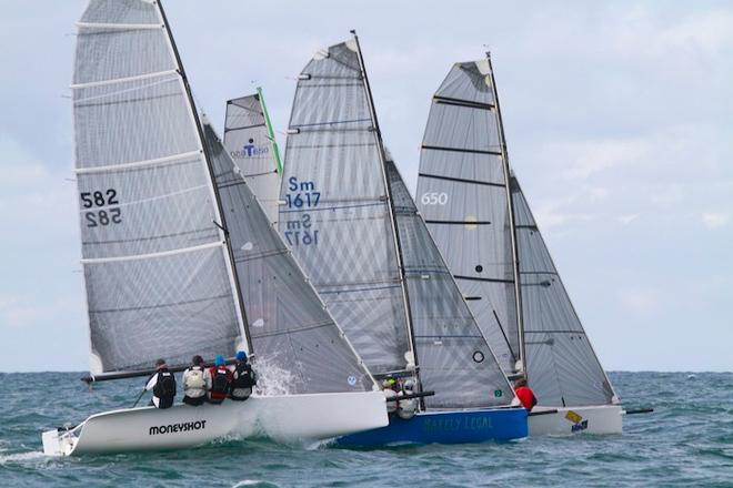 Three Shaw 650s hustle at the start - Sail Mooloolaba 2013 © Teri Dodds http://www.teridodds.com