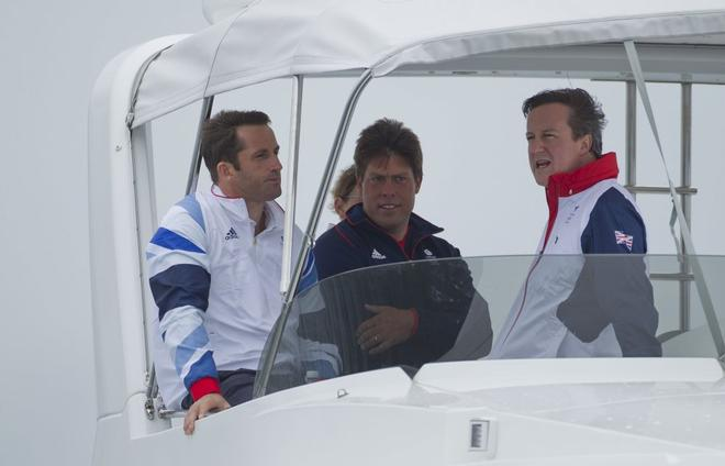 British Prime Minister David Cameron (right)  with Ben Ainslie, and Andrew Simpson (centre)  at the Weymouth and Portland Sailing Academy, in The London 2012 Olympic Sailing Competition. © onEdition http://www.onEdition.com