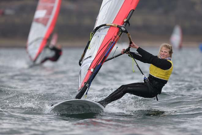 Saskia Sills in action in the RS:X windsurfing class ©  Marc Turner /RYA http://marcturner.photoshelter.com/