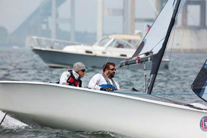 Sarah Everhart-Skeels and crew Gerry Tiernan lead the SKUD-18 class at the C. Thomas Clagett, Jr. Memorial Clinic & Regatta ©  Clagett/Thornton Cohen.