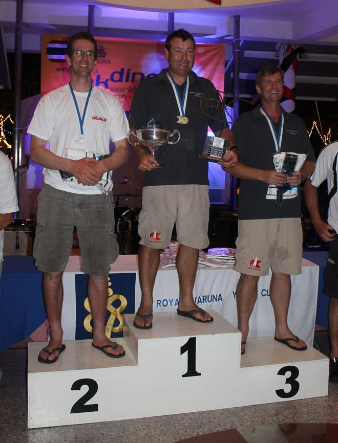 Craig, Blasse and Williams on the podium - 2013 OK Dinghy World Championship © International OK Dinghy Association - copyright http://www.okdia.org/
