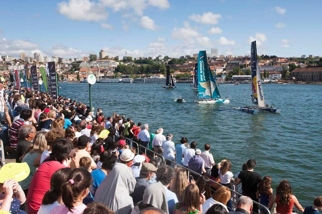 Massive crowds gathered to watch the Extreme 40s race on the Douro river on day 3 in Porto 2012. © Roy Riley / Lloyd Images http://lloydimagesgallery.photoshelter.com/