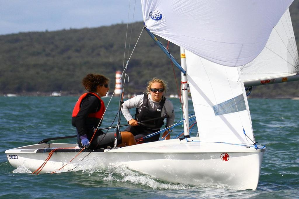 Napier Sailing Club's Olivia Mackay (17) and Abby Goodwin (15) are the first females to win the 420 National Championships - 2013 420 Nationals, Takapuna © Richard Gladwell www.photosport.co.nz