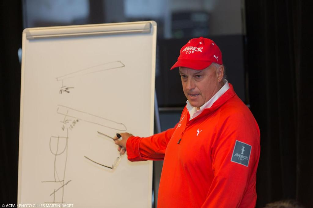 Iain Murray gives design lesson at the press conference about safety © ACEA - Photo Gilles Martin-Raget http://photo.americascup.com/