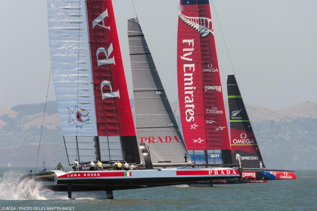 34th America's Cup - Luna Rossa and Emirates Team NZ in a practice race © ACEA/ Bob Grieser http://photo.americascup.com/
