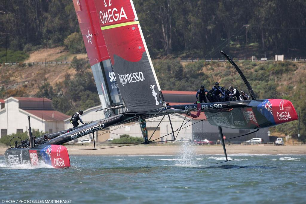 Emirates Team NZ's AC72''s Rudder Elevators can bee seen in this shot from her first sail in May 23, 2013 © ACEA - Photo Gilles Martin-Raget http://photo.americascup.com/