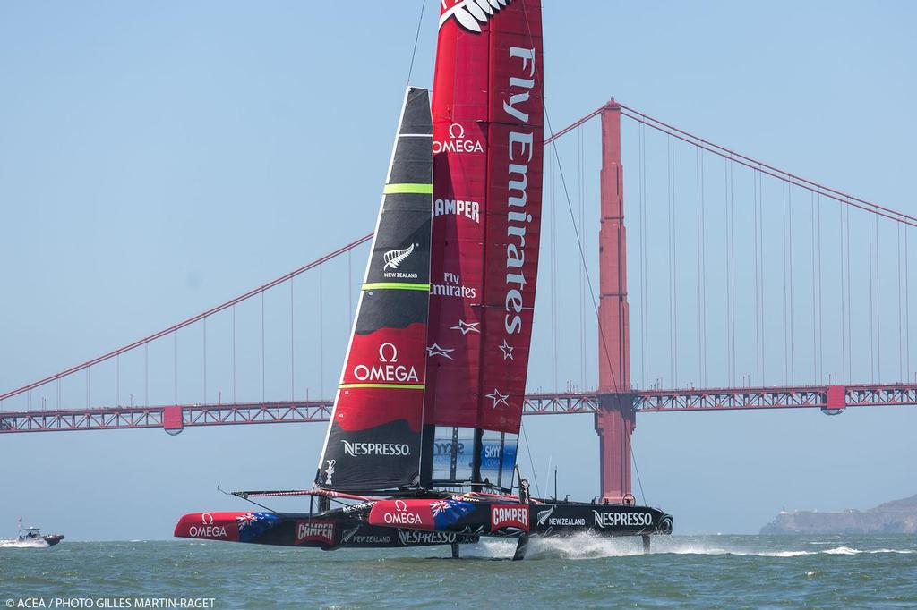 Emirates Team NZ - replacement of the red background wingsail covering with clear material is a substantial task with major signage implications © ACEA - Photo Gilles Martin-Raget http://photo.americascup.com/
