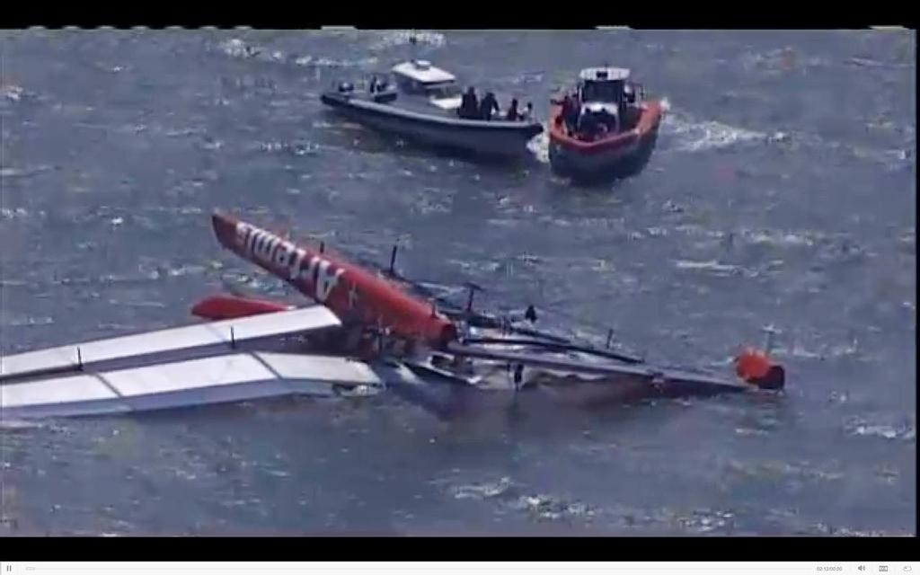 Artemis Racing upside down in San Francisco after a capsize on April 9, 2013 © SW