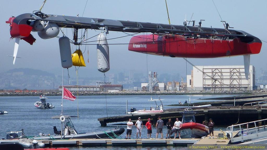 Artemis haulout - view from port quarter as platform rotates © Natasha Pyle http://www.turtlemoonworld.com