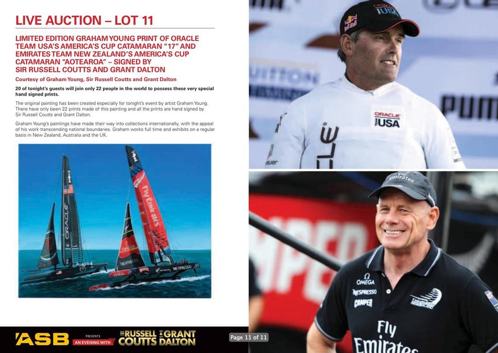 Auction Lot 11 - An Evening with Russell Coutts and Grant Dalton © SW