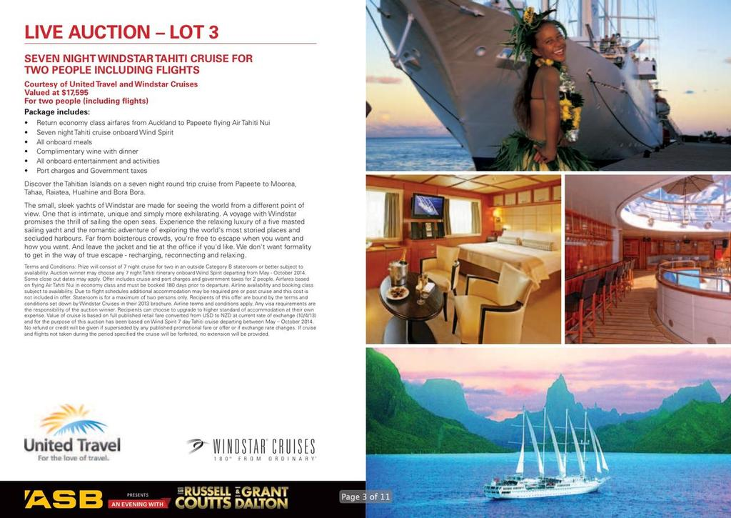 Auction Lot 3 - An Evening with Russell Coutts and Grant Dalton © SW