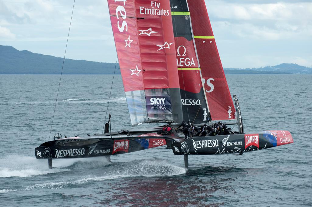 Emirates Team New Zealand sail NZL5 for the last time in New Zealand before being shipped to San Francisco.  © Chris Cameron/ETNZ http://www.chriscameron.co.nz