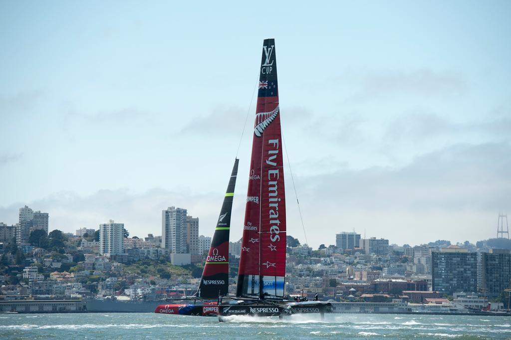 Emirates Team New Zealand practice and testing with the AC72, NZL5 in San Francisco. 5/6/2013 © Chris Cameron/ETNZ http://www.chriscameron.co.nz