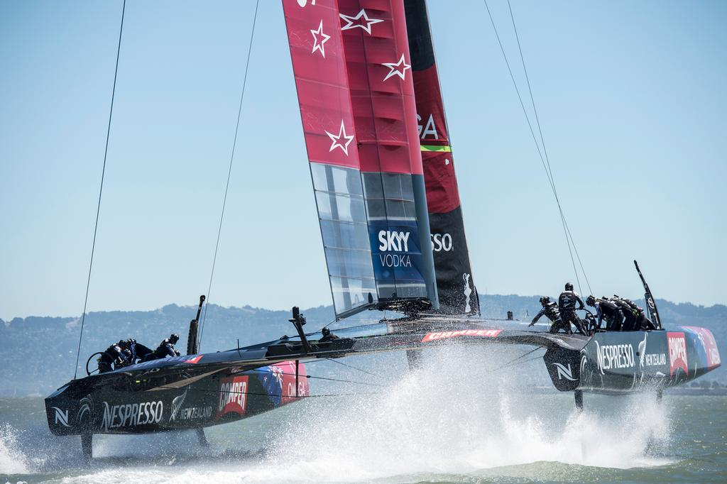 Emirates Team New Zealand practice sailing  NZL5 in San Francisco.  © Chris Cameron/ETNZ http://www.chriscameron.co.nz