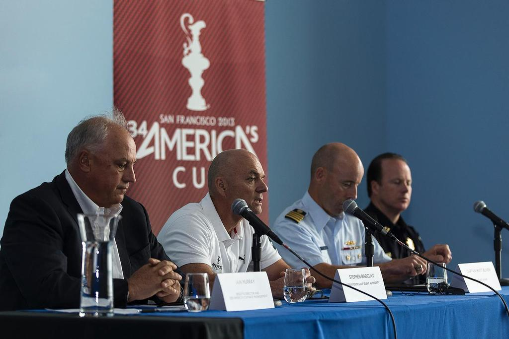 ACEA Press conference following Artemis Racing capsize and loss of Andrew Simpson - Stephen Barclay (ACEA CEO) - Ian Murray (ACRM CEO) - Captain Matt Bliven (US Coast Gards) - Captain Tom Cleary (SFPD) / San Francisco (USA) / 10-05-2013 photo copyright Guilain Grenier Oracle Team USA http://www.oracleteamusamedia.com/ taken at  and featuring the  class