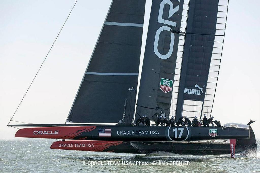 Oracle Team USA - First Sail - San Francisco April 25, 2013 © Guilain Grenier Oracle Team USA http://www.oracleteamusamedia.com/