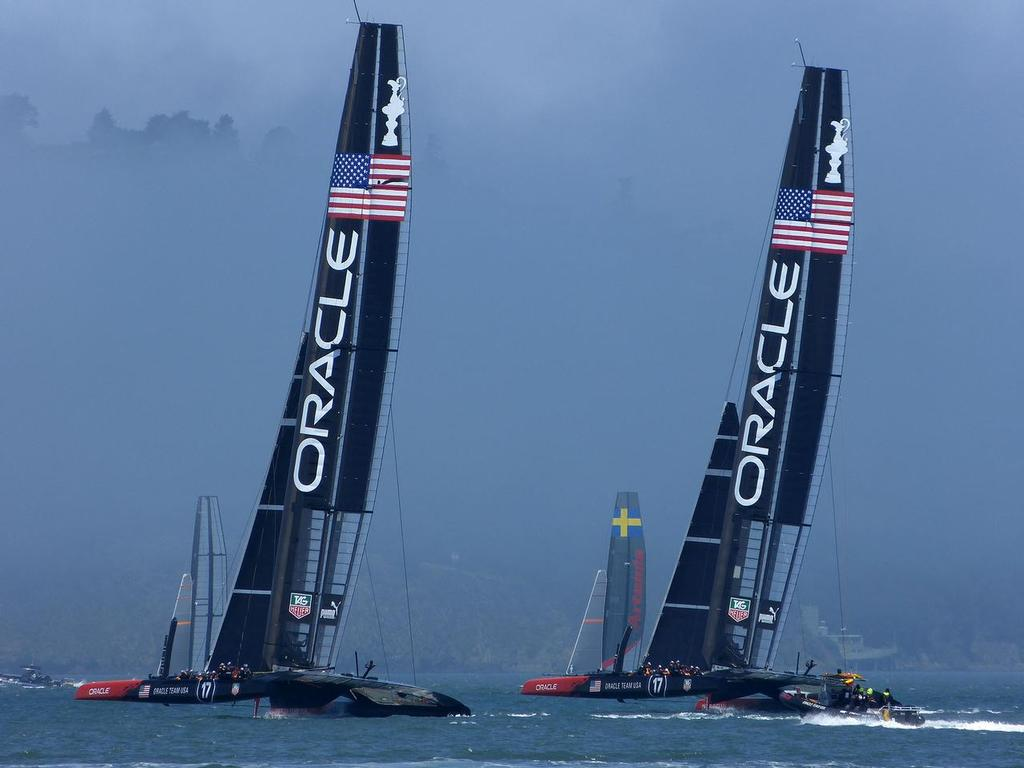 Oracle Team USA testing in the final practice session, July 3, 2013 © John Navas