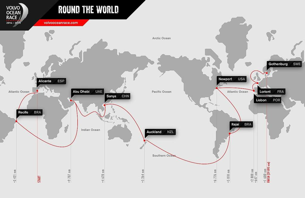 Official route of the Volvo Ocean Race 2014-15 © Volvo Ocean Race http://www.volvooceanrace.com