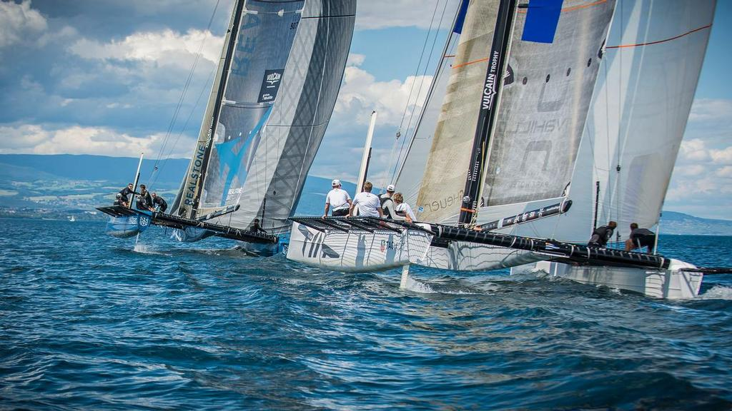 2013  Extreme Sailing Series - Team Tilt and Realteam in training for Act 5, Porto in their Décision 35s on Lake Geneva.  © Christian Pfahl / Realteam