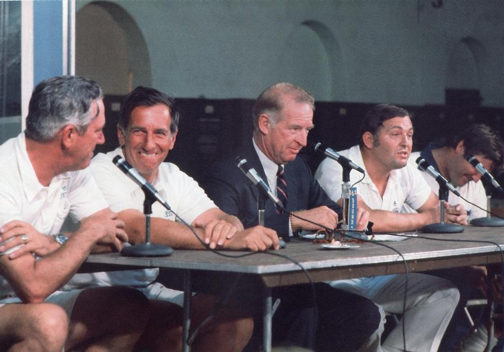 Ted Hood (second from left) at a media conference in the 1974 America's Cup, others are Bob McCullough (left), Bus Mosbacher (centre), Alan Bond, and Ben Lexcen photo copyright Paul Darling Photography Maritime Productions www.sail-world.com/nz taken at  and featuring the  class